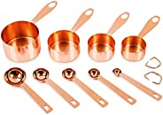 Copper-plated Measuring Cups and Spoons, Set of 9: EXTRA STURDY Stainless Steel. Satin + Mirror Polish Copper