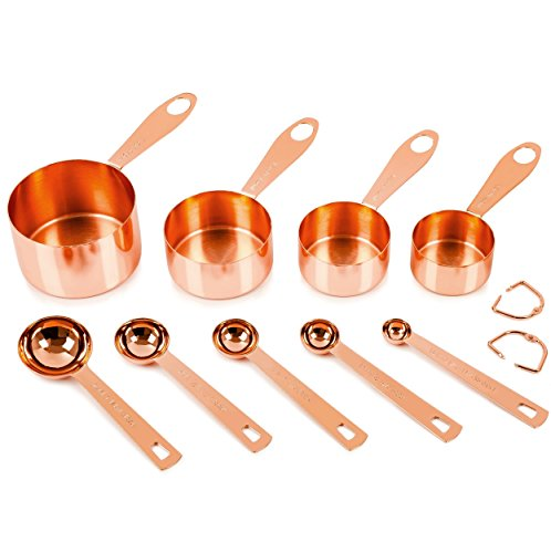 Copper Measuring Cups and Spoons, Set of 9: EXTRA STURDY Copper-Plated Top-Quality Stainless Steel. Satin, and Mirror Polish. Engraved in Both US and Metric ml Measurements. Copper Finish / Rose Gold