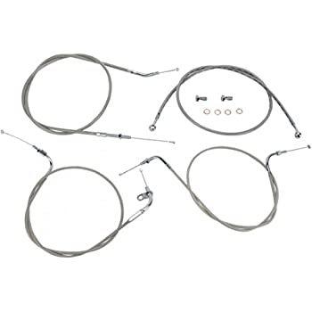 Stainless Steel 12 Handlebars Baron Custom Accessories Extended Stainless Cable and Line Kit for 98-05 Yamaha XVS650A