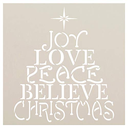 Love Joy Peace Stencil with Star by StudioR12 | Christmas Fruit of The Spirit Believe | Reusable Mylar Template | DIY Holiday Decor & Gift | Paint Wood Signs | -