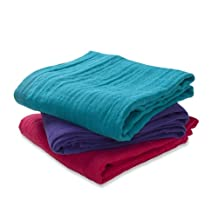 Aden + Anais 7204G Swaddle Cloths Small Pack of 3 Plain Assorted Colours