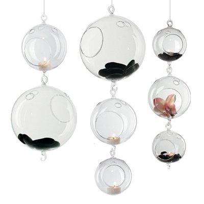 Plant Terrarium/Hanging Candle Holder, Round Base with 1 hook (12 pcs)