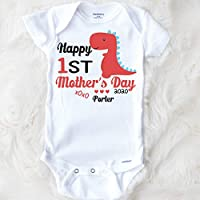 Happy First Mother's Day Dinosaur Baby Boy Bodysuit Gift For Mom Personalized For Baby Gift for Baby Outfit