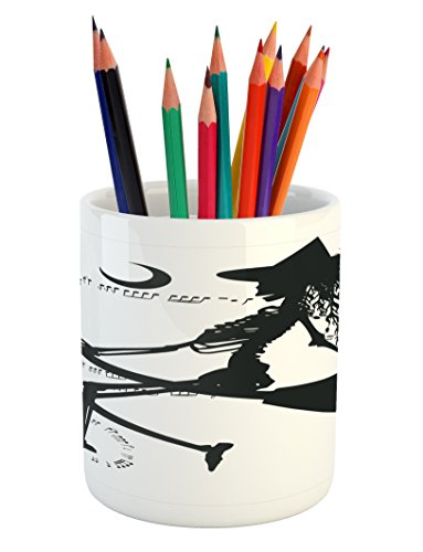 Ambesonne Music Pencil Pen Holder, Witch Flying on Electric Guitar Notes Bat Halloween Illustration, Printed Ceramic Pencil Pen Holder for Desk Office Accessory, Black White ()