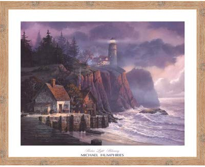 Poster Palooza Framed Harbor Light Hideaway- 32x26 Inches - Art Print (Natural Knotty Frame)