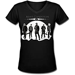 GSTON Mint Condition 7 Poster Tour Cotton V-Neck T Shirt For Womens Black XXL