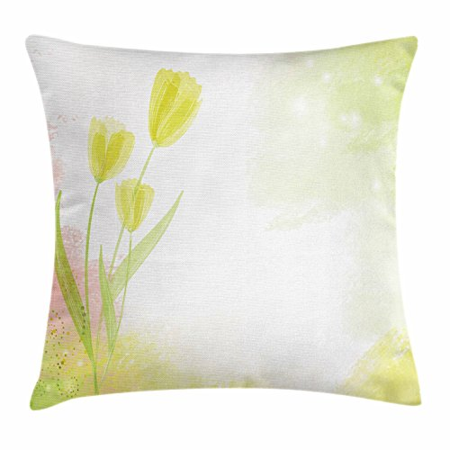 Tulip Throw Pillow Cushion Cover by Ambesonne, Watercolors Background with Soft Pure Pastel Tone Effects Heralds of Spring Design, Decorative Square Accent Pillow Case, 26 X 26 Inches, Green - Herald Shops Square