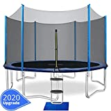 ORCC 15FT 14FT 12FT 10FT Kids Trampoline, TÜV Certificated Yard Trampoline with Enclosure Net Jumping Mat Spring Pad Wind Stakes Rain Cover and Pull T-Hook, Best Gift for Kids