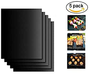 "BBQ Grill Mats Set of 5 by Wenseny - 100% Non-stick, FDA-Approved, PFOA Free, Reusable and Easy to Clean(16"" x 13"", Black )"