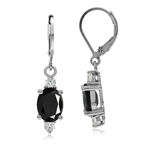 - 4.98ct. OV 9x7 Natural Black Sapphire & Topaz Gold Plated 925 Sterling Silver Leverback Earrings