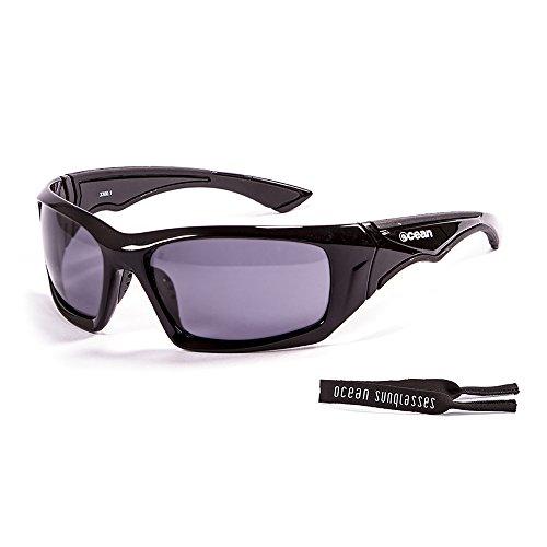 Ocean Sunglasses Antigua - lunettes de soleil polarisées - Monture : Noir Laqué - Verres : Fumée (3300.1) 9M28geX