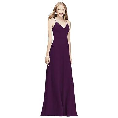 0706cc246c4 David s Bridal Chiffon V-Neck Spaghetti Strap Bridesmaid Dress Style ...