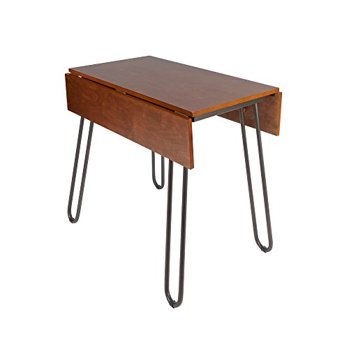 Svitlife Henry Drop Leaf Table with Hairpin Legs - Brown Leaf Drop Table Antique Leg Gate Oak English Mahogany Dining (Vintage Leaf Table Drop)