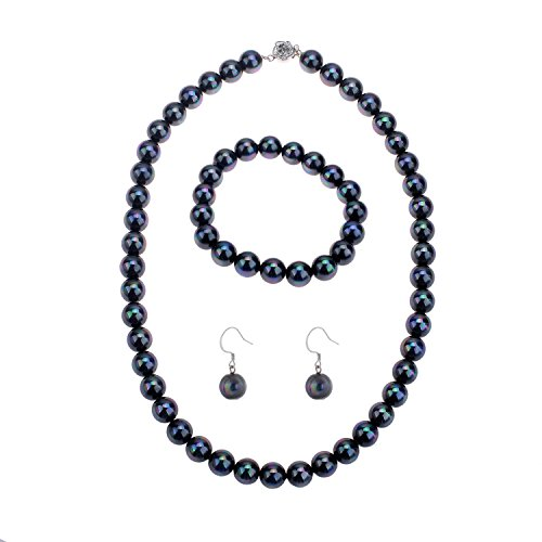Pearl Elastic Necklace Bracelet Dangle Earring Set-Black(09000649-5) ()