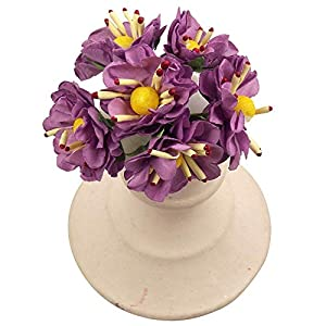 MARJON Flowers6 Mini Anemone Rose with Stamens Paper Small Artificial Flowers (Lilac) 95