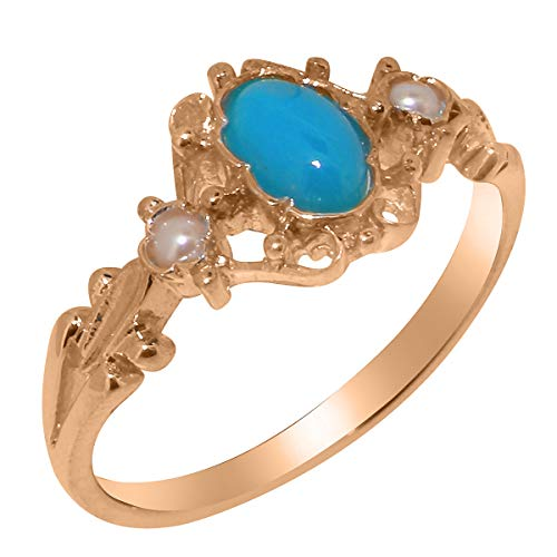 LetsBuyGold 10k Rose Gold Natural Turquoise & Cultured Pearl Womens Engagement Ring - Size 7.25