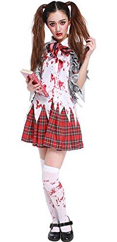 Halloween Zombie Costume Schoolgirl Costume Bloody Student Uniform Outfit Cosplay -
