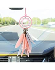 Alynsehom Dream Catcher Car Interior Rearview Mirror Hanging Decor Handmade Grids Nature Feather Small Boho Car Charms Pendant Accessories (Pink)
