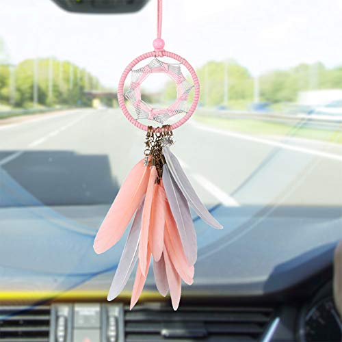 LAVAY Dream Catcher Car Interior Rearview Mirror Hanging Decor Handmade Grids Nature Feather Small Boho Car Charms Pendant Accessories 2.8