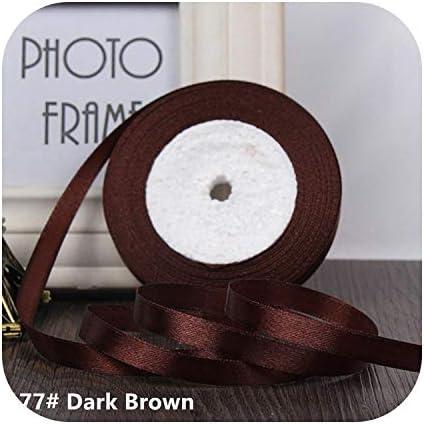 kawayi-桃 25ヤード/ロールグログランサテンリボン結婚式のクリスマスパーティーの装飾6mm-40mm DIY弓クラフトリボンカードギフト-Dark Brown-6mm