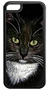 Cat with Green Eyes- Case for the Apple Iphone 5C- Hard Black Plastic Snap On Case with Soft Black Rubber Lining