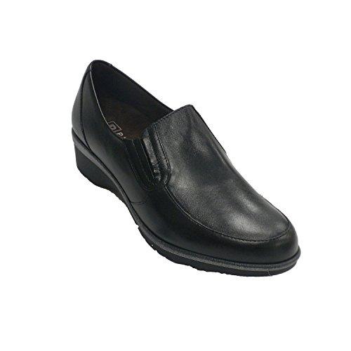Pitillos En Zapato Cuña Lisa Pala Mujer Negro Con HYxxqRXwP