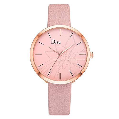 (Watches for Women,Ladies Classic Lotus Dial WristWatch for Women Brand Disu Analog Quartz Watches with Leather Band(D,Gifts for Goddess))