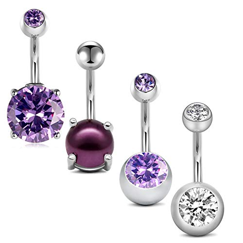 - QWALIT 14G Belly Button Rings Navel Rings Surgical Steel CZ Jeweled Navel Piercing Barbell for Women Girls Short Belly Button Piercing Bar Body Jewelry 3/8
