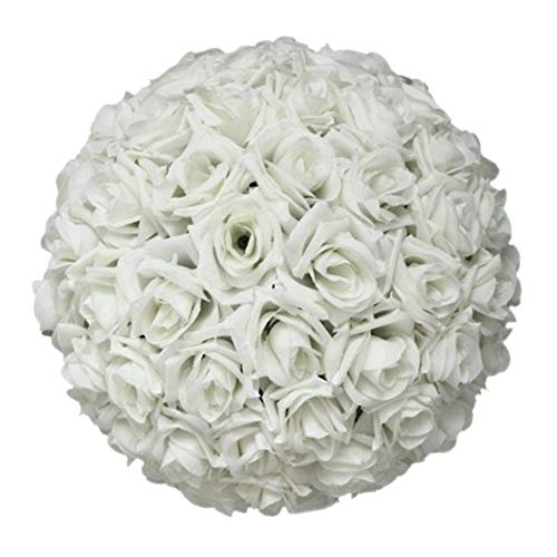 schicj133mm 8 Inch Wedding Artificial Rose Silk Real Flower Ball for Bridal Bouquets,Home Outdoor Party Centerpieces Decorations -Elegant White