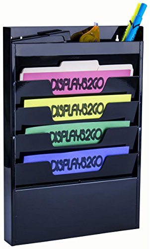 Displays2go Office Wall Rack for File Folder/Magazine, 4 Tier, Top Organizer, Black Steel (TFOR04BLK) by Displays2go