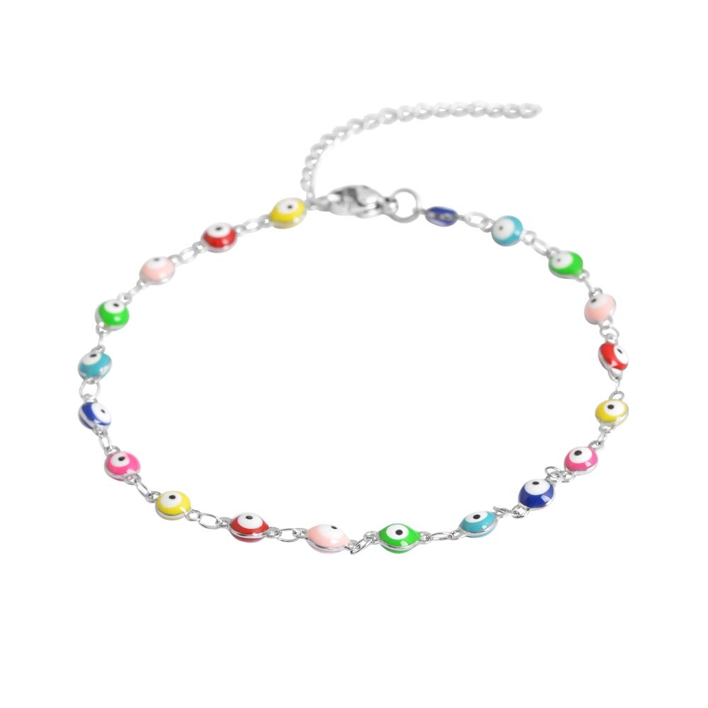 Edforce Stainless Steel Multi-Colored Evil Eye Pendant Anklet, 9''+2'' Extender by Edforce Stainless Steel (Image #2)