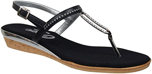 Onex Women's Cabo Thong Sandal,Black/Silver,6 M US by Onex