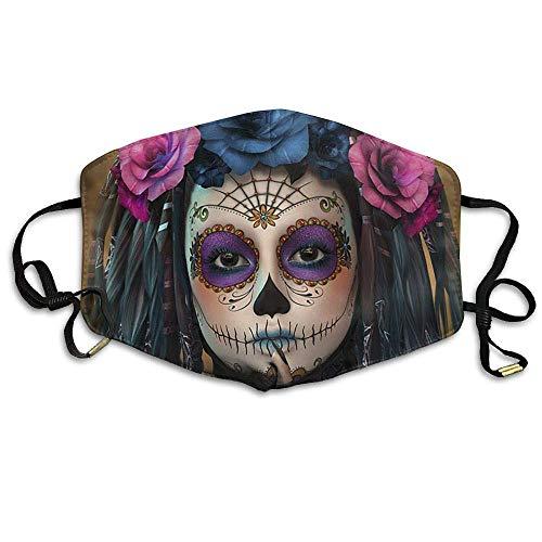 SOADV Mouth Masks Sugar Skull Makeup Unisex Facemask Earloop Germ Dust Protection Mask Riding Breathable Mask -
