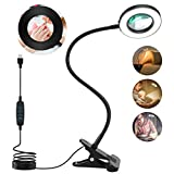 LANCOSC Clip on Light Reading Light, 42 LED 3 Color Modes Stepless Dimmable Webcam Lighting Video Conference Lighting Book Light Clamp Light for Reading Auto-Off, 3X LED Magnifying Glass Desk Lamp (Color: Black)