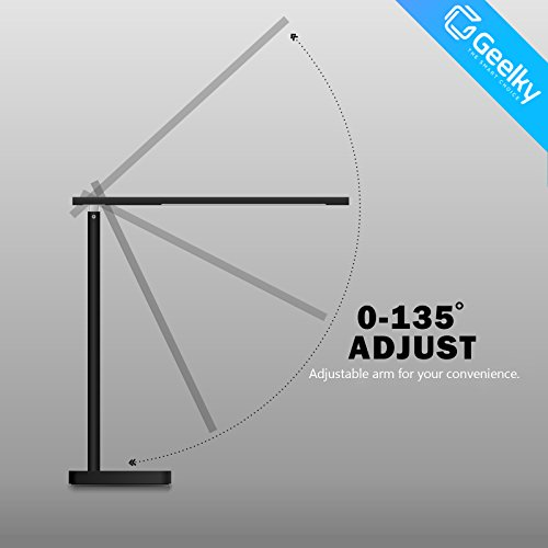 LED Desk Lamp with Qi Wireless Charger, Eye-caring Table Lamps, Dimmable Lamp with 5V/1A USB Charging Port, Office Desk Lamp, Touch, 4 Color Temperature Modes by Geelky (Jet Black) by Geelky (Image #4)