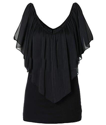 NiSeng Mujeres Verano Gasa Casual Color Sólido Cuello Redondo Off shoulder V Cuello Sin Mangas Camisetas Blusas Negro