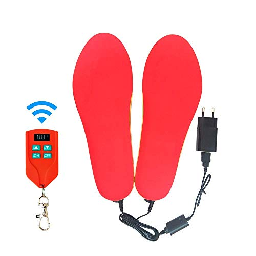 Qkefegfkgr Heated Insole, Insul Heating kit for Heating Insulation, Remote Control Switch, Wireless Battery (Color : Rot, Size : 42-46) (Protection Circuit Freeze Controls)