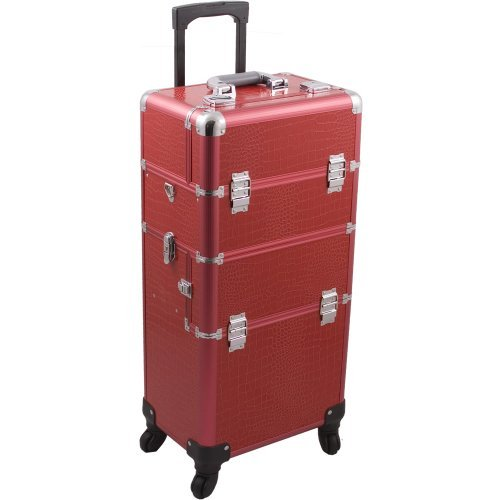 HIKER Makeup Rolling Case HK6501 2 in 1 Hair Stylist Orgainzer, 3 Slide and 1 Removable Tray, 4 Wheel Spinner, Locking with Mirror, Extra Lid and Shoulder Strap, Red Crocodile by Hiker