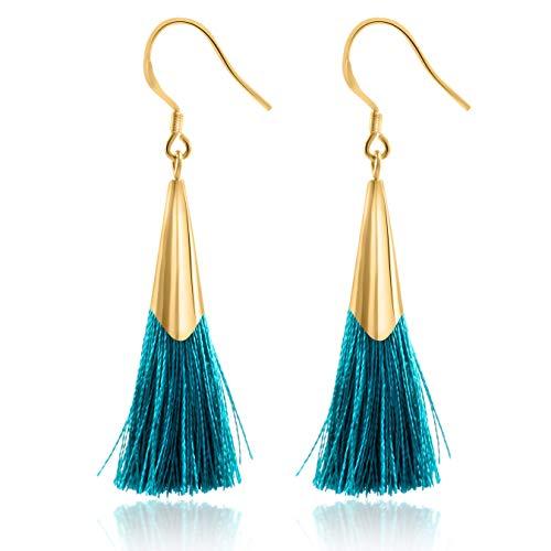 Tassel Earrings Dangle Drop 925 Silver French Hook Jewelry for Women's (Turquoise Blue)