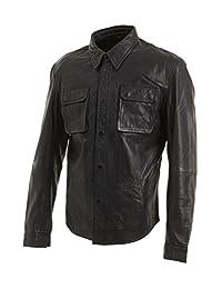 Slim Fit Mens Black Retro Jeans Trucker Shirt Jacket Real Leather Vintage Biker