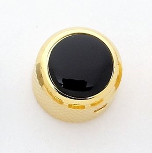 Dome Acrylic Knobs (Q-Parts Dome Knob - ACRYLIC BLACK ON GOLD, KGD-0033)
