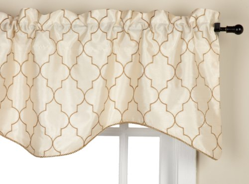stylemaster hudson 52 by 17inch embroidered lined valance with cording vanilla - Valances For Living Room