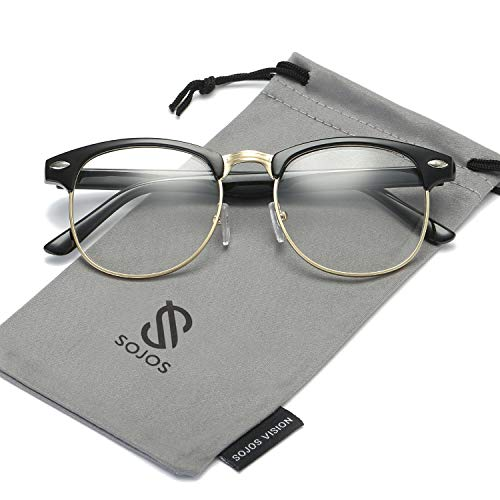 SOJOS Semi Rimless Eyewear Frame Eyeglasses Half Horn Rimmed Glasses SJ5018 with Bright Black Frame/Gold Rim/Clear Lens ()