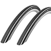 2x Schwalbe Lugano 700c x 23 Bike Tyres - White 2016