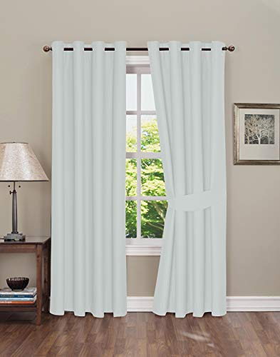 (Boston Linen Co. Blackout Curtain - Thermal Insulated Grommet Window Curtain for Bedroom - 2 Panels, tie-Backs Included - Gray-White, 42x84 inch)