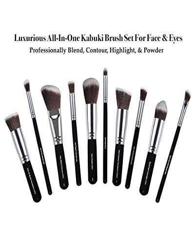 Kabuki Brush - Makeup Brushes For Face & Eyeshadow - Make up Brush For Foundation Concealer Contour Blush Highlight Buffing Blend - Cosmetic Brushes For Powder Liquid Cream - Soft Dense Vegan Bristle