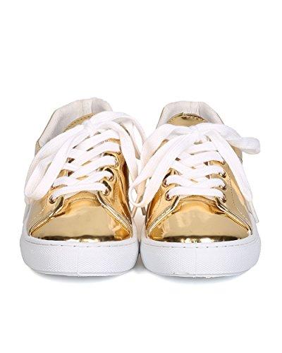 Qupid Gk70 Metallic Dames Kunstleer Veter Sneaker - Goud