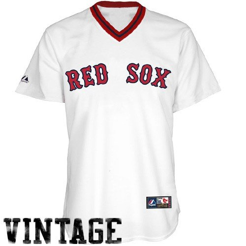 MLB Boston Red Sox 1969 Cooperstown Adult Short Sleeve Synthetic Replica Jersey (White, Large)