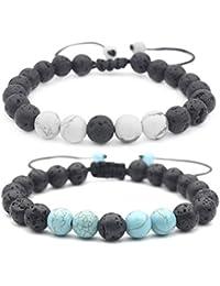 8mm Beaded Lava Stone Rock Diffuser Bracelet for Women Men Braided Rope Natural Bangle