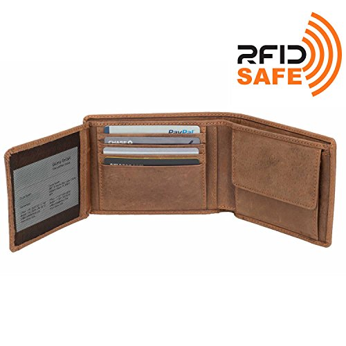 DiLoro Wallets for Men Bifold Flip ID Section Coin Compartment RFID Protection Full Grain Top Quality Vegetable Tanned Leather (Light Hunter Brown) by DiLoro (Image #1)